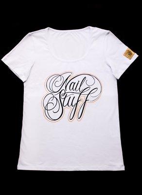 Nailstuff T-Shirt Deep Round Neck White